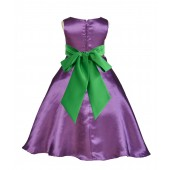 Purple/Lime A-Line Satin Flower Girl Dress Party Recital 821S