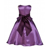 Purple/Plum A-Line Satin Flower Girl Dress Party Recital 821S
