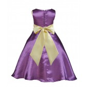 Purple/Canary A-Line Satin Flower Girl Dress Party Recital 821S