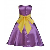Purple/Sunbeam A-Line Satin Flower Girl Dress Party Recital 821S