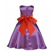 Purple/Persimmon A-Line Satin Flower Girl Dress Party Recital 821S