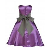 Purple/Mercury A-Line Satin Flower Girl Dress Party Recital 821S
