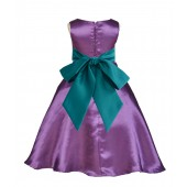 Purple/Oasis A-Line Satin Flower Girl Dress Party Recital 821S