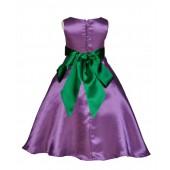 Purple/Green A-Line Satin Flower Girl Dress Party Recital 821S