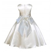 Ivory/Ivory A-Line Satin Flower Girl Dress Pageant Reception 821S