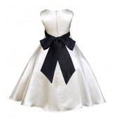 Ivory/Black A-Line Satin Flower Girl Dress Pageant Reception 821S