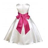 Ivory/Fuchsia A-Line Satin Flower Girl Dress Pageant Reception 821S