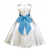 Ivory/Turquoise A-Line Satin Flower Girl Dress Pageant Reception 821S