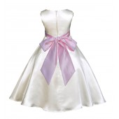 Ivory/Pink A-Line Satin Flower Girl Dress Pageant Reception 821S