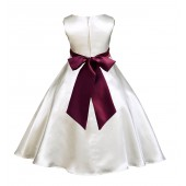 Ivory/Burgundy A-Line Satin Flower Girl Dress Pageant Reception 821S