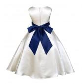 Ivory/Navy Blue A-Line Satin Flower Girl Dress Pageant Reception 821S