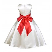 Ivory/Red A-Line Satin Flower Girl Dress Pageant Reception 821S