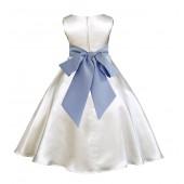 Ivory/Bluebird A-Line Satin Flower Girl Dress Pageant Reception 821S