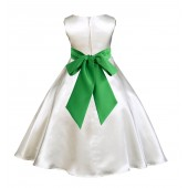Ivory/Lime A-Line Satin Flower Girl Dress Pageant Reception 821S