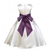 Ivory/Plum A-Line Satin Flower Girl Dress Pageant Reception 821S
