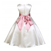 Ivory/Dusty Rose A-Line Satin Flower Girl Dress Pageant Reception 821S