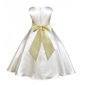 Ivory/Canary A-Line Satin Flower Girl Dress Pageant Reception 821S