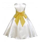 Ivory/Sunbeam A-Line Satin Flower Girl Dress Pageant Reception 821S