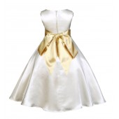 Ivory/Gold A-Line Satin Flower Girl Dress Pageant Reception 821S
