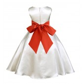 Ivory/Persimmon A-Line Satin Flower Girl Dress Pageant Reception 821S