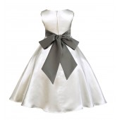 Ivory/Mercury A-Line Satin Flower Girl Dress Pageant Reception 821S