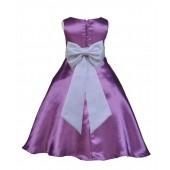 Purple/White A-Line Satin Flower Girl Dress Party Recital 821T