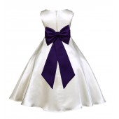 Ivory/Purple A-Line Satin Flower Girl Dress Pageant Reception 821T