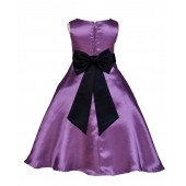 Purple/Black A-Line Satin Flower Girl Dress Party Recital 821T