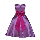 Purple/Fuchsia A-Line Satin Flower Girl Dress Party Recital 821T