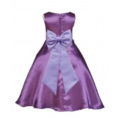 Purple/Lilac A-Line Satin Flower Girl Dress Party Recital 821T