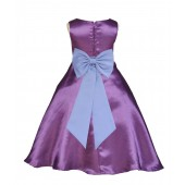 Purple/Sky A-Line Satin Flower Girl Dress Party Recital 821T