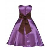 Purple/Brown A-Line Satin Flower Girl Dress Party Recital 821T