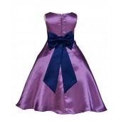 Purple/Navy A-Line Satin Flower Girl Dress Party Recital 821T
