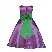 Purple/Lime A-Line Satin Flower Girl Dress Party Recital 821T