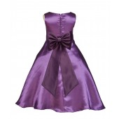 Purple/Plum A-Line Satin Flower Girl Dress Party Recital 821T