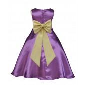 Purple/Canary A-Line Satin Flower Girl Dress Party Recital 821T