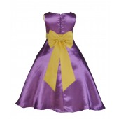 Purple/Sunbeam A-Line Satin Flower Girl Dress Party Recital 821T