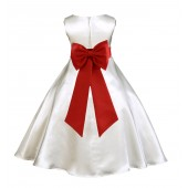 Ivory/Persimmon A-Line Satin Flower Girl Dress Pageant Reception 821T