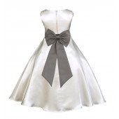 Ivory/Mercury A-Line Satin Flower Girl Dress Pageant Reception 821T