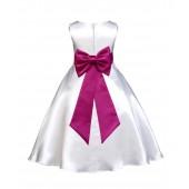 White/Fuchsia A-Line Satin Flower Girl Dress Wedding Bridal 821T