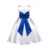 White/Royal Blue A-Line Satin Flower Girl Dress Wedding Bridal 821T
