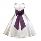 Ivory/Plum A-Line Satin Flower Girl Dress Pageant Reception 821T