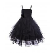 Black Ruffled Bodice Spaghetti Strap Organza Flower Girl Dress 151S