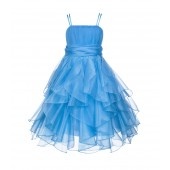 Turquoise Ruffled Bodice Spaghetti Strap Organza Flower Girl Dress 151S