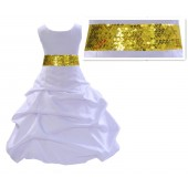 White Satin Pick-Up Bubble Flower Girl Dress Sunbeam Sequins 806mh