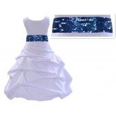 White Satin Pick-Up Bubble Flower Girl Dress Navy Sequins 806mh