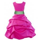 Fuchsia/Apple Green Satin Pick-Up Bubble Flower Girl Dress Elegant 806S