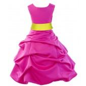 Fuchsia/Lemon Satin Pick-Up Bubble Flower Girl Dress Elegant 806S