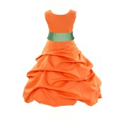 Orange/Apple Green Satin Pick-Up Bubble Flower Girl Dress Halloween 806S