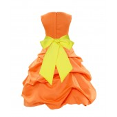 Orange/Lemon Satin Pick-Up Bubble Flower Girl Dress Halloween 806S